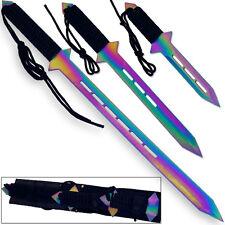 Titanium  Future Warrior Triple Ninja Sword Set 3Pcs Finished Multicolored Sharp