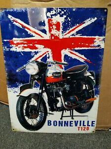TRIUMPH BONNEVILLE T120, METAL WALL SIGN 40x30cm, BRITISH biker UNION FLAG