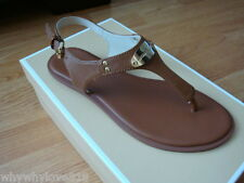 NIB NEW Women MICHAEL MICHAEL KORS Plate Slingback Thong Sandals Luggage 9