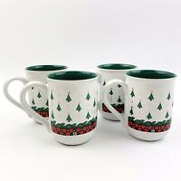 Vtg MARY ENGELBREIT Set Of 4 Christmas Tree Ceramic Coffee Mugs Holiday 1992