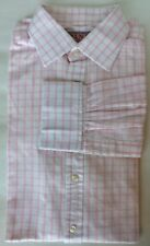 Thomas Pink Men Dress Shirt Pink Plaid  15 1/2 Long Sleeve Cotton French Cuff