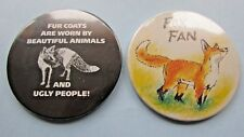 FAB VINTAGE FOX FAN AND ANTI FUR COATS POCKET HANDBAG MIRROR PAIR