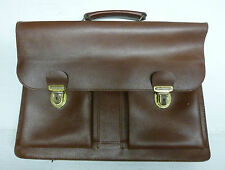 Vintage Leather Satchel Briefcase Office Uni Laptop Messenger Bag