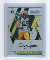 2016 PACKERS Clay Matthews signed card Panini Abolsute Heroes #14 AUTO 13/52