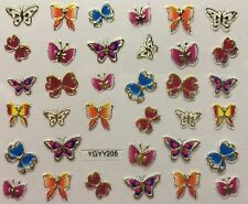 Nail Art 3D Decal Stickers Beautiful Butterflies Multiple Colors YGYY205