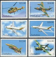 Zimbabwe 2001 Planes/Helicopter/Aircraft/Aviation/Air Force/Transport 6v (b7887)