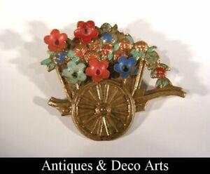 Vintage Metal Brooch Chariot with Flowers