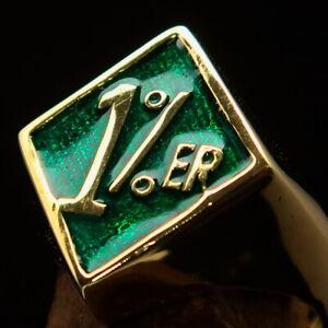 DIAMOND SHAPED MENS BRASS BIKER RING 1% ER ONE PERCENTER SYMBOL GREEN SIZE 10.5