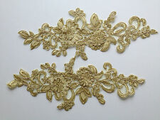 Pair Gold 3D Floral Embroidery Applique Motif Lace Trim --- EB0140  Haberdashery