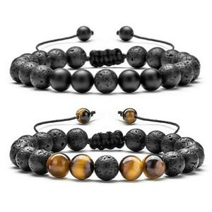 2 Pcs Women Men Lava Tiger Eye Bracelets Essential Oil Anxiety Stress Bracelets