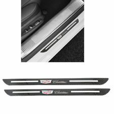 Carbon Fiber Car Door Welcome Plate Sill Scuff Cover Decal Sticker For Cadillac