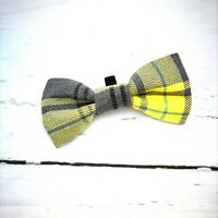 Lemon & Lime Yellow Plaid Dicky Bow Tie - MEDIUM- for Puppy , Dog , Cat - PPB