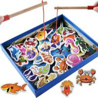 32pcs Magnetic Fishing Educational Fishing Game Wooden Fun Toys Kids Baby Gifts