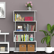 HOMCOM 4-Tier Storage Display Unit Bookshelf Dividers S-Shape Wooden White