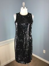 New Michael Kors Black Silver Sequin Sheath Dress Sparkle Cocktail Formal M 6 8