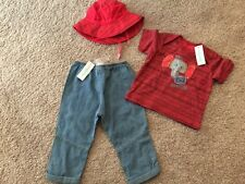 NWT NEW Naartjie Baby Boy Toddler Red Elephant Top Pants Hat set 12 18 months