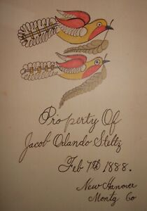 AAFA Dated 1888 Folk Art Country Primitive Fraktur Montgomery County, PA