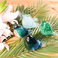 Colorful Glass Bird Paperweight Art Glass Blown Animal Figurine Home Desk Decor