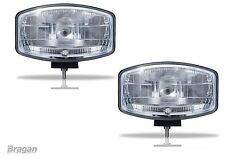 "2x 24v 9.5"" Jumbo Oval Black ABS Spot Lamp + LED Scania Volvo DAF MAN Truck"