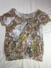 American Rag Small Boho Print Blouse Shirt Loose Elastic Waist Sleeves
