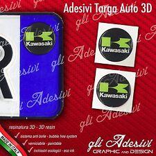 2 Adesivi Stickers bollino 3D Resinato targa Auto Moto KAWA green