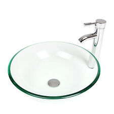 Tempered Clear Glass Bathroom Vessel Sink Washroom Chrome Faucet Drain Combo