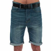 Mens Crosshatch Black Label Yankton Denim Belted Shorts In Denim