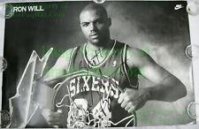 NITF ☆ SIGNED ☆ Vintage ☆ Nike Basketball Poster ☆ IRON WILL ☆ Charles Barkley