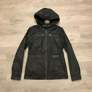 Fly Racing Womens Black Waxed BMX Jacket Hooded Cotton Size XL NWT