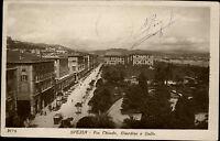 Spezia s/w AK 1923 Via Chiodo Giardini e Golfo Straßenpartie Tram Grünanlagen