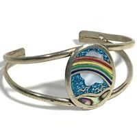 VINTAGE MEXICO RAINBOW Inlay CUFF BRACELET Abalone Turquoise Silver ENAMEL MOP