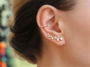 New Elegant Wrap Earring Crystal Cuff Clip Ear Stud Rhinestone Earrings Gift