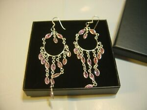 STUNNING VINTAGE SOLID SILVER SUPERB REAL PINK TOPAZ LARGE LONG EARINGS-CLEANED