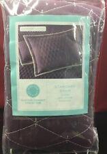 Martha Stewart Broad Stitch Diamonds Quilted Standard Pillow Sham Plum $60 New