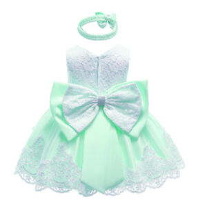 Baby Girls Dress Lace Floral Bowknot Decor Tutu Mesh Skirts Wedding Party Gown