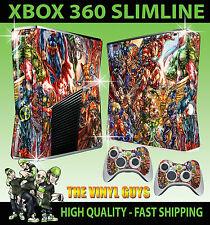 XBOX 360 SLIM STICKER MARVEL DC ACTION HERO SUPERHERO SKIN & 2 PAD SKINS