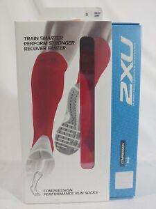 2XU Compression Performance Run Socks Red/Gray Size Small