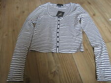 TOP SIZE 8 NEW & TAG WHITE & BLACK STRIPES COTTON LOW ROUND NECK LONG SLEEVES