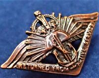 **WW2 THE AUSTRALIAN RETURNED FROM ACTIVE SERVICE BADGE REPLICA MEDAL ANZAC