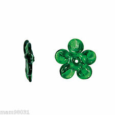 Beads Glass 4 Dark GREEN FLOWER / Flowers ~ 16MM ~ Handmade Vary Slightly