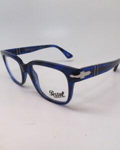 New Authentic Persol PO 3252V 1053 Striped Blue Eyeglasses 3252-V 50mm