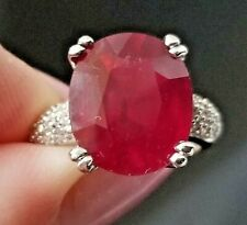 6.16TCW Beautiful Red Ruby Diamond 14k white gold ring