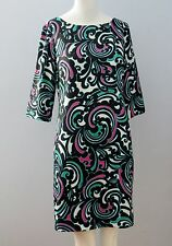 BANANA REPUBLIC Size 2 Multi-Color Fully Lined 3/4 Sleeves Shift Dress
