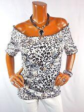 WHITE HOUSE BLACK MARKET Womens Top L On Off Shoulder Shirt Floral Animal Print