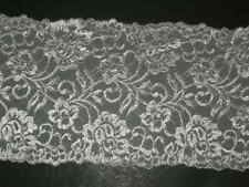 "white embroidered trimming  lycra lace trim stretch material 6"" X By The Yard"