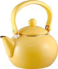 Tea Kettle 2-Quart Enamel-on-Steel ,Retro modern Stove top Kitchen Lemon Yellow