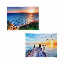 LED-Bilder Sonnenuntergang 2 Stück Leuchtbild Wanddeko Leinwandbild Strandbild b