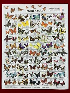 Post Stamps Sheet Mexico Tuberculosis Fight 2018 75 Anniversary Butterflies