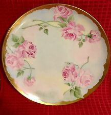 HAVILAND LIMOGES WALL PLATE 1946-1962 HAND PAINTED GOLD ROSES FRANCE