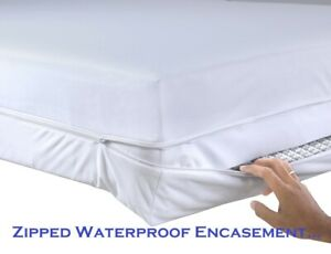 QUALITY Waterproof Zipped Mattress Total Encasement Protector Cover SINGLE SIZE